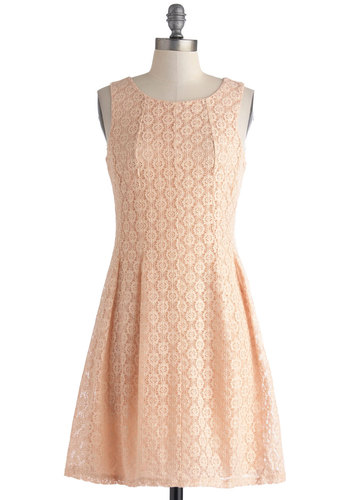 Lace but Not Least Dress - Mid-length, Pink, Solid, Lace, Casual, A-line, Sleeveless, Scoop, Daytime Party, Graduation, Pastel, Summer
