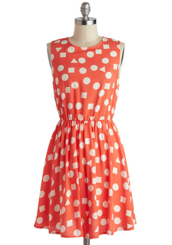 Summertime Spirit Dress - Mid-length, Coral, White, Exposed zipper, Casual, A-line, Sleeveless, Crew, Print, Summer, Polka Dots