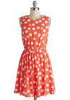Summertime Spirit Dress - Mid-length, Coral, White, Exposed zipper, Casual, A-line, Sleeveless, Crew, Print, Summer, Polka Dots, Graduation
