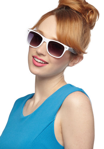 Daytime Ditty Sunglasses - White, Black, Solid, Polka Dots, Beach/Resort, Summer