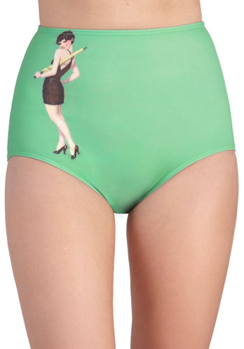 Poolside Periodicals Swimsuit Bottom - Green, Novelty Print, Beach/Resort, Pinup, Vintage Inspired, 20s, Summer, Mint, Exclusives