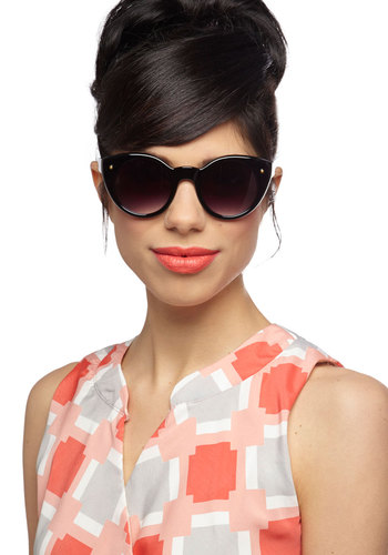 Groove Out Day Sunglasses - Black, Beach/Resort, Pinup, Vintage Inspired, 50s, 60s, Summer, Grey, Top Rated