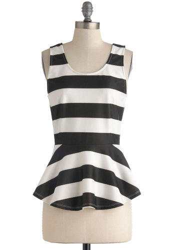 What I Stripe About You Top - Mid-length, Black, White, Stripes, Peplum, Sleeveless, Exposed zipper, Party, French / Victorian, Summer, Scoop, Black, Sleeveless