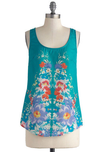 Reflecting Cool Top - Blue, Red, Purple, White, Floral, Mid-length, Casual, Tank top (2 thick straps), Summer, Scoop