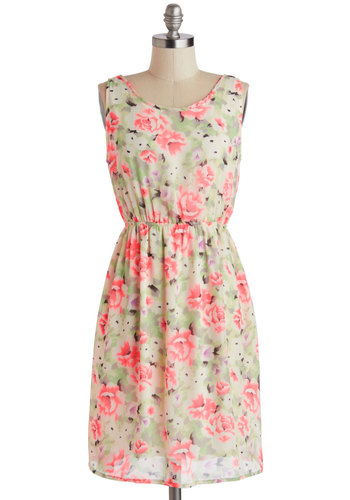 Bold Blooms Dress - Mid-length, Mint, Pink, White, Floral, Bows, Daytime Party, A-line, Sleeveless, Scoop, Spring, Summer
