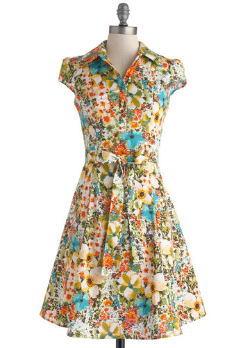 Soda Fountain Dress in Floral - Mid-length, Cotton, Multi, Floral, Buttons, Belted, Daytime Party, Shirt Dress, Cap Sleeves, Collared, Work, Casual, Vintage Inspired, 50s, Spring, Summer, Variation, 60s
