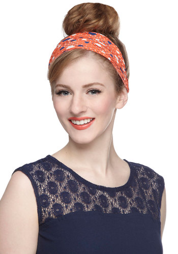 Calls for Celebration Headband - Orange, Blue, White, Polka Dots, Travel