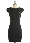 Positively Posh Dress - Mid-length, Black, Solid, Crochet, Party, Bodycon / Bandage, Cap Sleeves, Exclusives