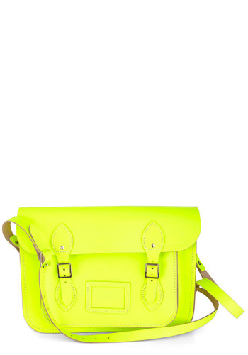"Cambridge Satchel Company Bag in Neon Yellow - 13"" by The Cambridge Satchel Company  - Yellow, Solid, Scholastic/Collegiate, Leather, Neon, Buckles, International Designer, Graduation, Work"