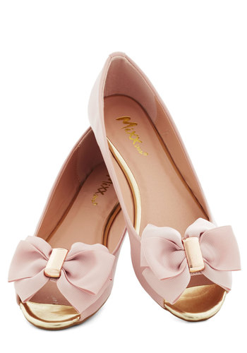 Anniversary Party Flat in Rose Pink - Pink, Solid, Bows, Luxe, Fairytale, Flat, Peep Toe, Gold, Work, Daytime Party, Graduation, Pastel, Spring, Summer, Variation