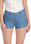 Casual Routine Shorts - Cotton, Denim, Blue, Solid, Pockets, Scallops, Casual, Short, Beach/Resort, Summer, Pinup