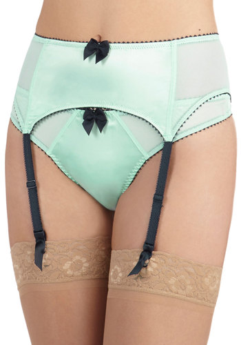 Shades of Blue Garter Belt - Blue, Solid, Bows, Trim, Mint, Pastel, Sheer, Boudoir
