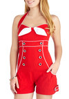 Aye, Aye, Adorable! Romper - Red, White, Solid, Bows, Beach/Resort, Nautical, Pinup, Vintage Inspired, Halter, International Designer, Long, Summer