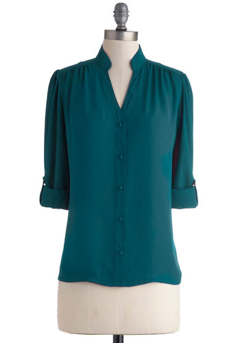 The Grand Tour Guide Top in Teal by Myrtlewood - Green, Solid, Buttons, Work, 3/4 Sleeve, Exclusives, Chiffon, Sheer, Woven, Mid-length, Private Label, Green, Tab Sleeve