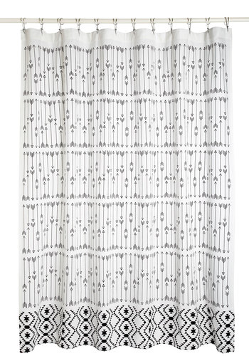 Home Scenic Home Shower Curtain - Cotton, White, Black, Print, Better