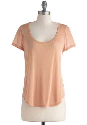 Iced Mint Tee in Peach - Mid-length, Sheer, Tan, Casual, Short Sleeves, Scoop, Solid, Travel, Pastel, Minimal, Spring, Summer, Jersey, Variation, Orange, Short Sleeve