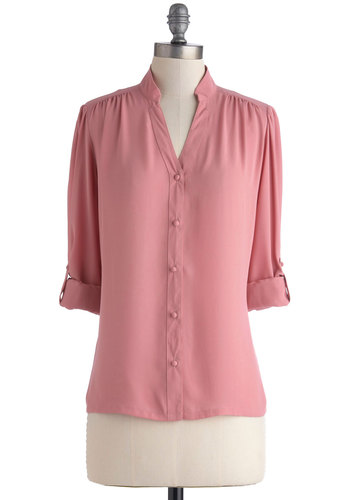 The Grand Tour Guide Top in Rose by Myrtlewood - Pink, Solid, Buttons, Work, Pastel, 3/4 Sleeve, Exclusives, Chiffon, Sheer, Woven, Basic, Mid-length, Private Label, Pink, Tab Sleeve