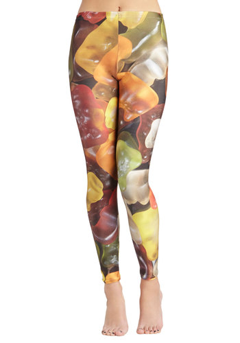 Gummy Bear Necessities Leggings - Multi, Casual, Kawaii, Skinny, International Designer, Novelty Print