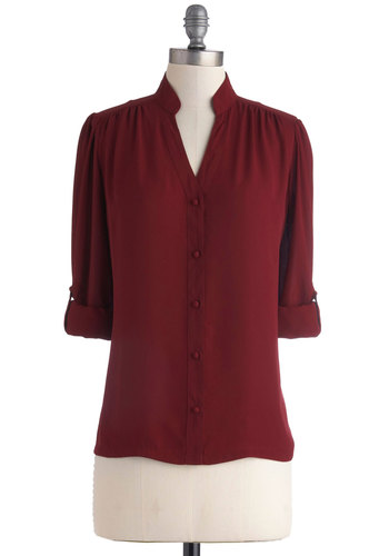 The Grand Tour Guide Top in Plum by Myrtlewood - Red, Solid, Buttons, Work, 3/4 Sleeve, Exclusives, Chiffon, Sheer, Woven, Private Label, Red, Tab Sleeve, Mid-length