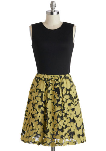 Split Pea Posh Dress - Black, Yellow, Floral, Cutout, Pockets, Party, A-line, Sleeveless, Crew, Lace, Exclusives