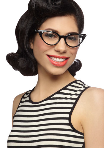See Eye to Cat-Eye Glasses - Black, Rhinestones, Work, Casual, Vintage Inspired, 40s, 50s, Summer, Halloween, Top Rated