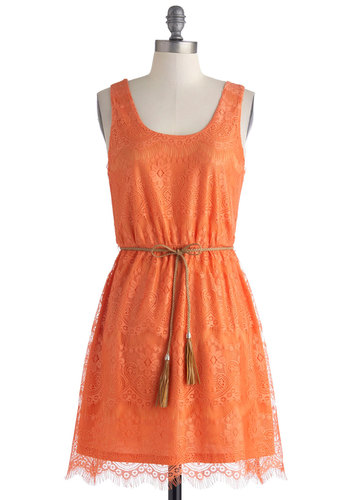 Catch Me if You Cantaloupe Dress - Mid-length, Orange, Solid, Lace, Belted, Casual, A-line, Tank top (2 thick straps), Scoop, Summer
