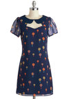 Best Flight of My Life Dress by Sugarhill Boutique - Blue, Multi, Novelty Print, Cutout, Peter Pan Collar, Party, Sheath / Shift, Short Sleeves, Collared, Mid-length, Woven