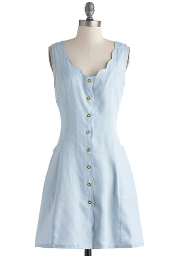 Choose Demure Own Adventure Dress - Denim, Mid-length, Blue, Gold, Solid, Buttons, Pockets, Scallops, Casual, Button Down, Sleeveless, Vintage Inspired, 60s, Summer