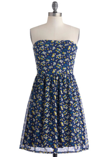 Cheer and Now Dress - Short, Blue, Multi, Floral, Party, A-line, Strapless, Daytime Party, Spring, Summer