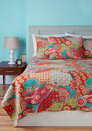 Pattern In for the Night Quilt Set in Twin - Cotton, Red, Red, Boho, Dorm Decor, Best