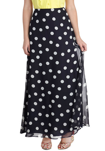 Skipping Dots Skirt - Long, Blue, Polka Dots, Casual, Daytime Party, Maxi, Blue