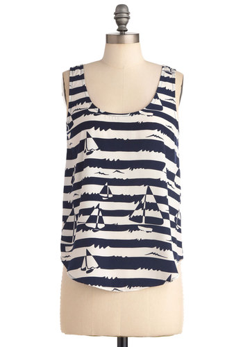 An Open Coloring Book Top - Stripes, Novelty Print, Tank top (2 thick straps), Nautical, Blue, White, Casual, Summer, Mid-length