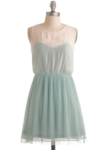 Salt Lake Pretty Dress in Water - A-line, Sleeveless, Party, Vintage Inspired, Summer, Mid-length, Mint, Tan / Cream, Pastel, Sheer