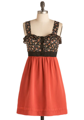 Molly Rose-wald Dress - Orange, Multi, Floral, Ruffles, Party, A-line, Twofer, Tank top (2 thick straps), Coral, Short
