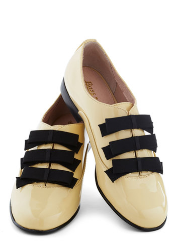 Rachel Antonoff for Bass Lemon Chiffon My Way Flat by Bass - Flat, Leather, Tan, Black, Bows, Menswear Inspired, Luxe, Vintage Inspired, 20s