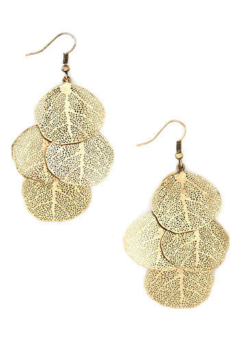 The Good Leaf Earrings - Gold, Solid, Tiered, Fall, Gold, Top Rated