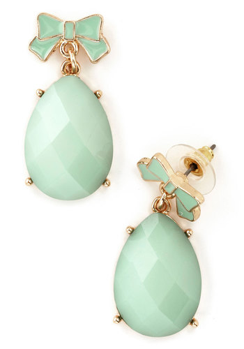 Bestow Bliss Earrings - Mint, Gold, Solid, Bows, Pastel