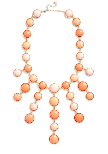Certain Stunner Necklace - Coral, Pink, Gold, Solid, Statement, Prom