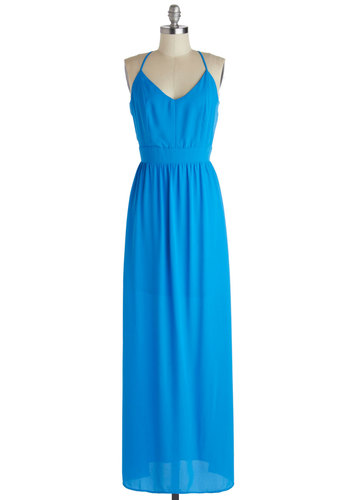Horizon and Shine Dress - Long, Blue, Solid, Backless, Casual, Maxi, Spaghetti Straps, Summer, Basic