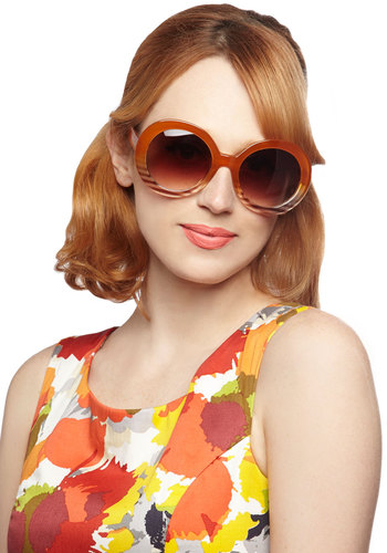 Dawn to Something Sunglasses - Brown, Multi, Solid, Stripes, Statement, Beach/Resort, Vintage Inspired, 60s, 70s, 80s, Mod, Summer
