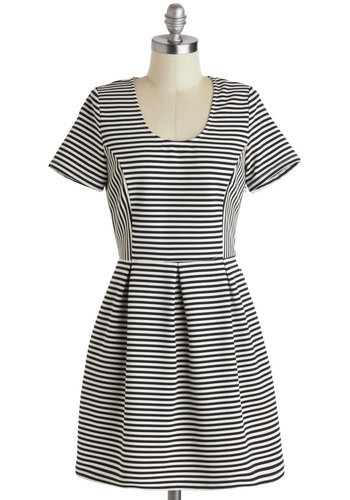 Meet the Author Dress - Short, Black, White, Pockets, Casual, A-line, Short Sleeves, Scoop, Stripes, Work, Press Placement