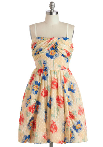 Anna Sui Playful Palette Dress - Cream, Red, Blue, Floral, Daytime Party, A-line, Spring, Luxe, Sleeveless, Summer, Mid-length, 90s, Graduation