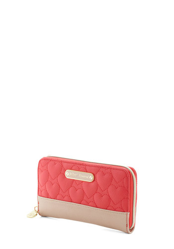 Betsey Johnson Amour in Store Wallet by Betsey Johnson - Coral, Tan / Cream, Quilted, Fairytale, Faux Leather, Solid