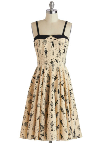 Clowning Around Dress - Long, Tan, Black, Novelty Print, A-line, Spaghetti Straps, Sweetheart, Vintage Inspired, 50s, 60s, Quirky, Summer, Casual