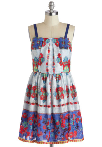 Anna Sui Pastoral Stroll Dress - Red, Blue, Floral, Daytime Party, A-line, Strapless, Spring, Bows, Luxe, Summer, Long, 90s, Graduation