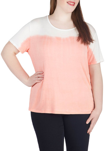 Dyed and Seek Top in Plus Size - Coral, White, Ombre, Casual, Short Sleeves, Spring, Summer, Scoop, Exclusives