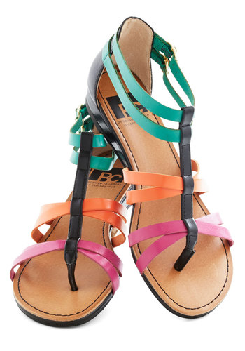 Cutie Crossing Sandal in Brights by BC Shoes - Multi, Solid, Buckles, Strappy, Low, Faux Leather, Casual, Beach/Resort, Summer, Variation