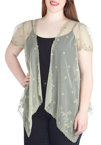 Get Ethereal Top in Plus Size - Green, Embroidery, Party, Work, Daytime Party, Fairytale, Pastel, Short Sleeves, Spring, Summer, Sheer