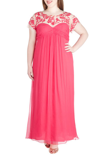 Evening Chic Dress in Plus Size - Sheer, Pink, Solid, Embroidery, Formal, Prom, Wedding, Fairytale, Maxi, Short Sleeves, Spring, Summer, Long