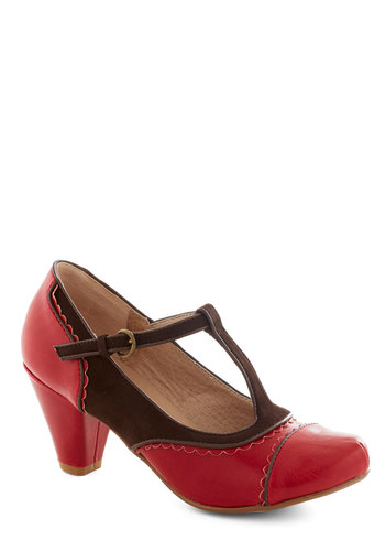 Dance on Air Heel in Cherry by Chelsea Crew - Red, Solid, Cutout, Scallops, Vintage Inspired, 20s, 30s, Mid, Faux Leather, Brown, Party, Work, 40s, Variation, Fall, T-Strap, Folk Art, Better